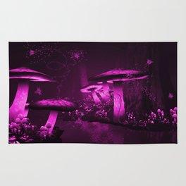 Glowing Purple  Mushrooms Rug