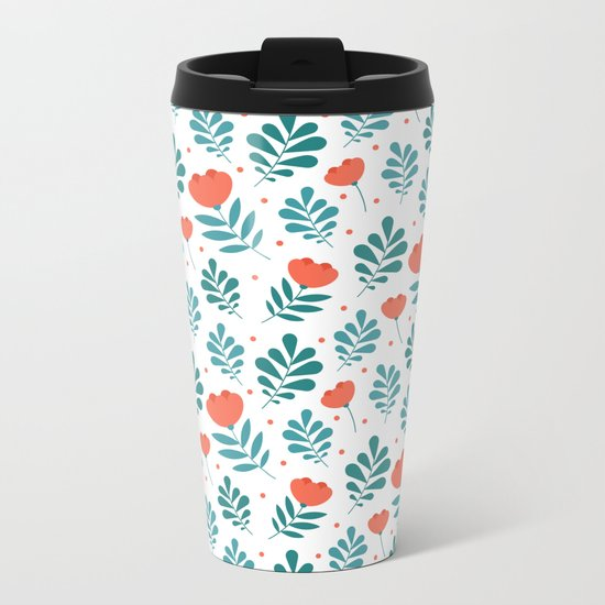 Floral Leaf Pattern Metal Travel Mug