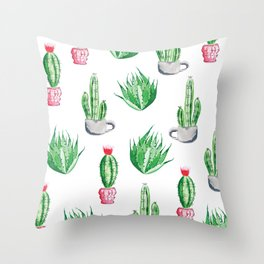 Pot plants with Cacti Pattern // Modern watercolor plants design Throw Pillow