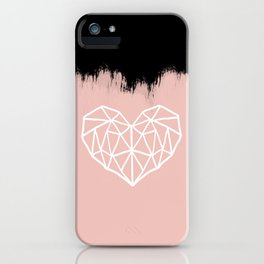 Geometric Heart on Pink iPhone Case