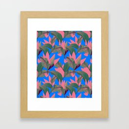 Retro Luxe Lilies Electric Blue Pattern Framed Art Print