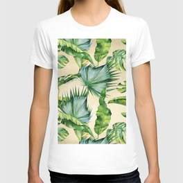Green Tropics Leaves on Linen T-shirt
