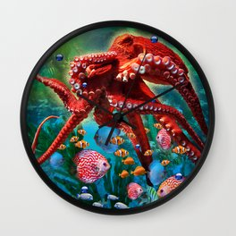 Red Octopus with Fish Wall Clock