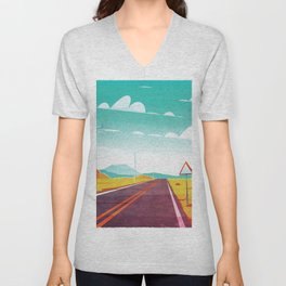 Life is a Highway Kitschy Vintage Retro Watercolor Mid Century Style Unisex V-Neck