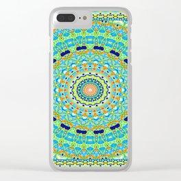 Kaleidoscope Blue Fish Mandala Clear iPhone Case