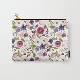 Violet pink yellow green watercolor modern floral pattern Carry-All Pouch