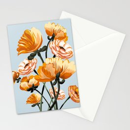 California poppies, Spring flowers warm colors, Stationery Cards