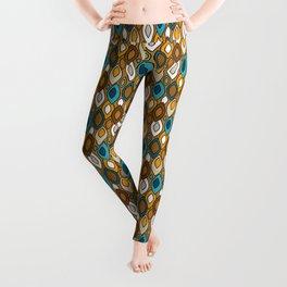 Mid Century Modern Scandinavian Leaves // Turquoise, Brown, Khaki, Marigold Yellow Leggings