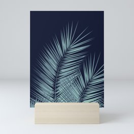 Navy Blue Palm Leaves Dream - Cali Summer Vibes #1 #tropical #decor #art #society6 Mini Art Print