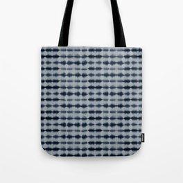 Shibori Frequency Horizontal Navy and Grey Tote Bag