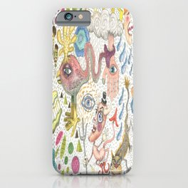 maximalism maximalist pastel pencil surreal fantasy iPhone Case
