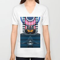 pacific rim V-neck T-shirts featuring Pacific Rim, Jaws edition by milanova
