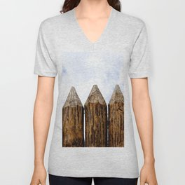 My House Is My Castle. Palisade Fence, Huge Wooden Logs, Cloudy Sky Unisex V-Neck