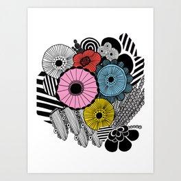 Heart in Flowers, inspired by Marimekko Art Print
