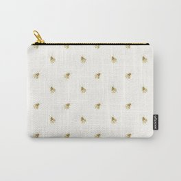 Gold Watercolour Bee Print Carry-All Pouch