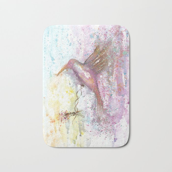 Hummingbird Watercolor Illustration Bath Mat