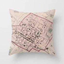 Vintage Map of Charlottesville VA (1877) Throw Pillow