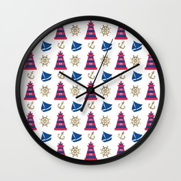 Blue red faux gold hand painted watercolor nautical pattern Wall Clock