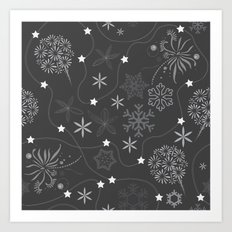 Stars on a string with snowflake and fireworks Art Print
