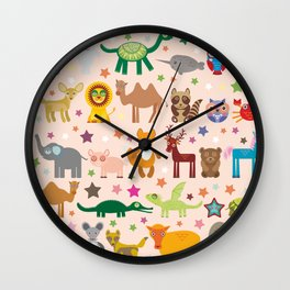 Set of funny cartoon animals character on pink seamless background. zoo. Vector Wall Clock