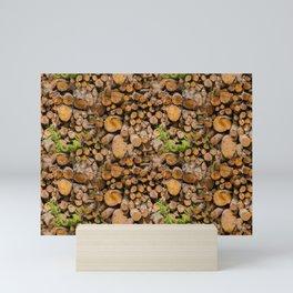 Rural life - woodpile, seamless canvas Mini Art Print