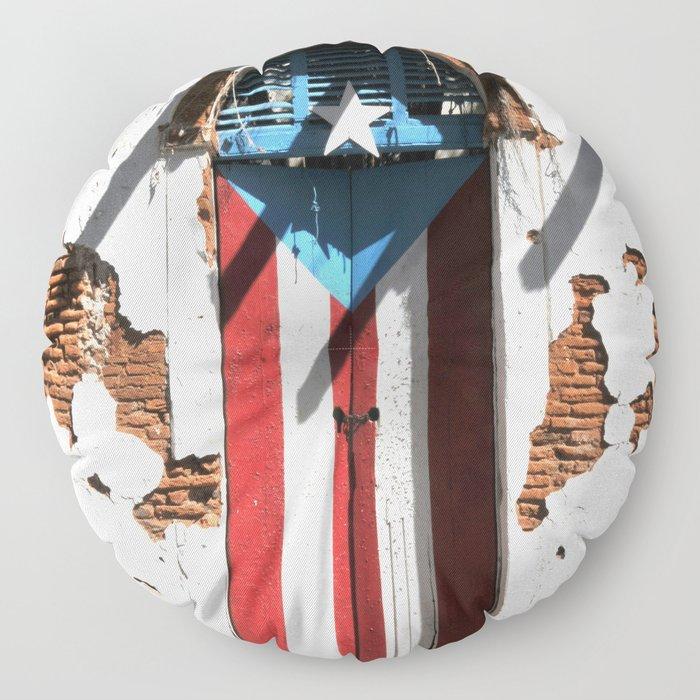 Puerto Rico Flag Floor Pillow