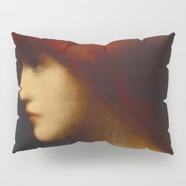 Profile of a young woman with red hair portrait by Jéan Jacques Henner Pillow Sham