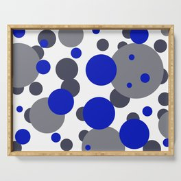 Bubbles blue grey- white design Serving Tray