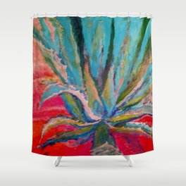 TROPICAL TURQUOISE BLUE AGAVE CACTI FUCHSIA  PATTERN Shower Curtain