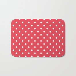 Coral Orangey-Red with White Polka Dots Bath Mat