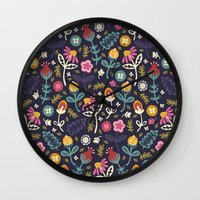 yetiland Wall Clocks featuring Ditsy Flowers by Poppy & Red