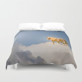 Walking on clouds over the blue sky Duvet Cover