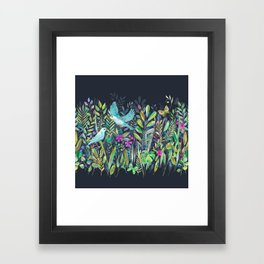 Little Garden Birds in Watercolor Framed Art Print