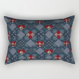 Dark blue -denim- patchwork Rectangular Pillow