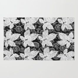 Flower pattern in black and white Rug