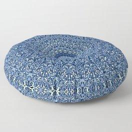 Sacred Blue Garden Mandala Floor Pillow
