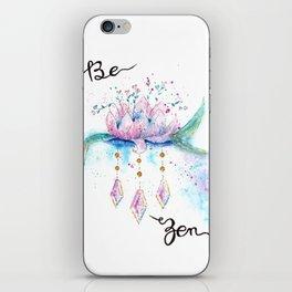 Be Zen Lotus Flower Watercolor iPhone Skin