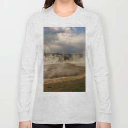 A Cloud Of Steam And Water Over A Geyser Long Sleeve T-shirt