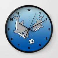 soccer Wall Clocks featuring Soccer Dolphins by joanfriends