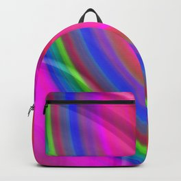 Hot volumetric semicircles with a crisp pink accent and all the colors of the rainbow. Backpack
