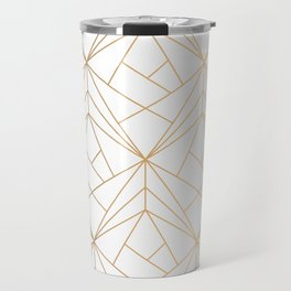 Geometric Gold Pattern With White Shimmer Travel Mug