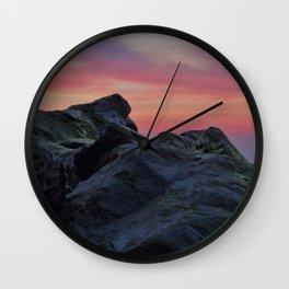 Happisburgh sea defences at sunset Wall Clock