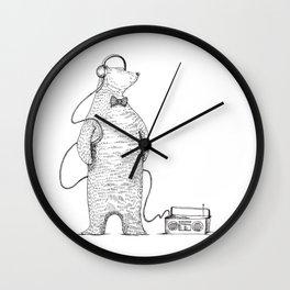 Minimalist Art Music Bear - black and white Wall Clock