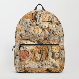 Close up view of an aged textured plastered stone wall Backpack