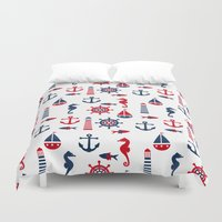 navy Duvet Covers featuring Navy by Valmo. Surface pattern design by Valeria