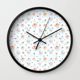 Modern pastel pink blue polka dots berries sweet cupcake Wall Clock