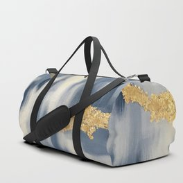 Blue and Gold Ikat Pattern Abstract Duffle Bag