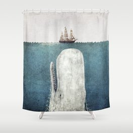 The Whale - vintage Shower Curtain