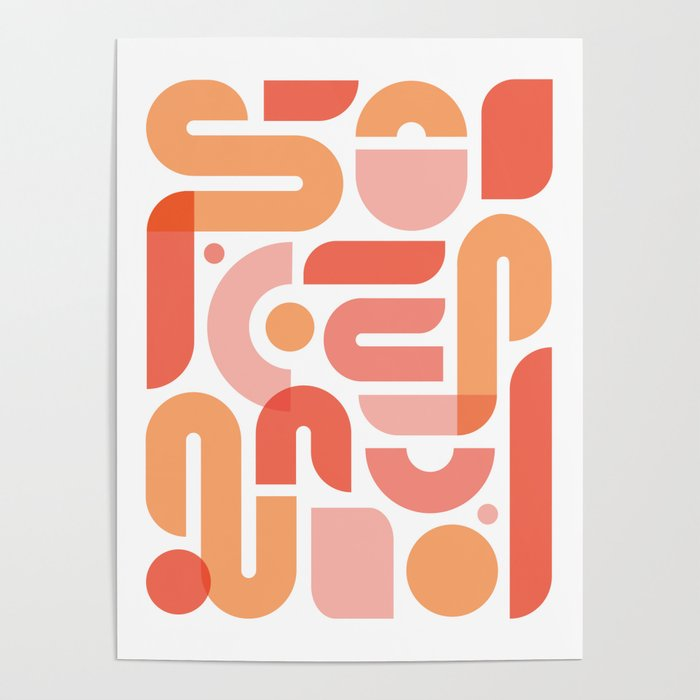 Peach Shapes Poster