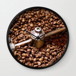 Freshly roasted coffee beans Wall Clock